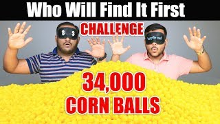 WHO WILL FIND IT FIRST CHALLENGE | Corn Ball Challenge | Food Eating Competition | Food Challenge
