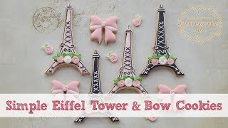 SIMPLE EIFFEL TOWER & BOW COOKIES - Paris Theme Party Idea (How To)