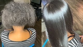 Silk Press Natural Hair Tutorial  Her Shrinkage Is Crazy!!!