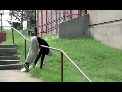 INSTABLAST! - Double Set Rail SLAM Session!! PERFECT Kickflip Bs Overcrook!! Back Alley BUM TRACK!!
