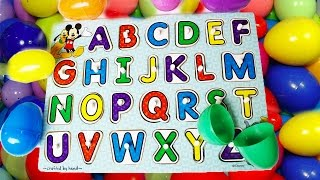 Learning ABC Letter Alphabet Phonics Disney ABC Puzzle and Surprise EGGS