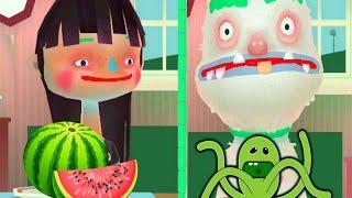 АРБУЗ ЧЕЛЛЕНДЖ #1 девочка против снеговика   смешная развлекательная игра видео для детей