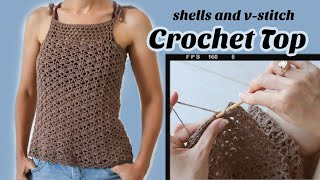 Easy Crochet Lace Top! Shell And V-Stitch Lacy Tank Top \ Free Pattern