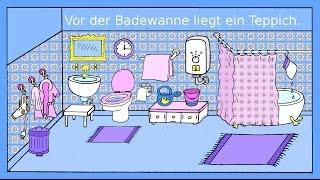 Deutsch lernen: Das Badezimmer - Dativ + Präpositionen - German lesson for beginners