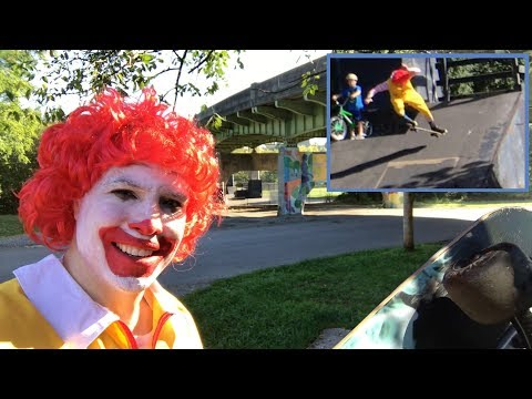 "Ronald ""McDonald"" Birmingham skates at the skate park!"