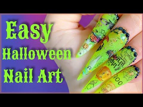 How I do my own long acrylic nails | Halloween Edition