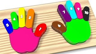 Learn Colors and Numbers Wooden Colorful Rainbow Hands and Fingers Kids Toys - Best Learning Video