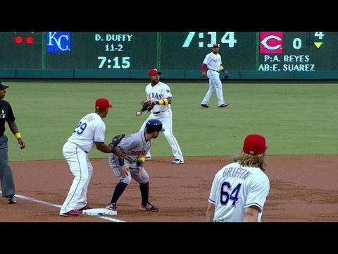 Beltre playfully nudges Altuve at third base