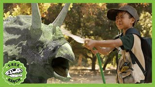 Giant Dinosaur Adventure! Park Rangers Look For Water On T-Rex Ranch! Triceratops Dinosaurs For Kids
