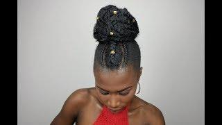How To Hair Tutorial  High Bun Protective Style | Marley Hair High Bun