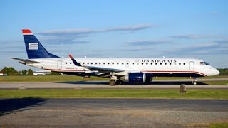 preview picture of video '✈ US Airways Embraer E lands Ronald Reagan Washington National Airport in Full HD'
