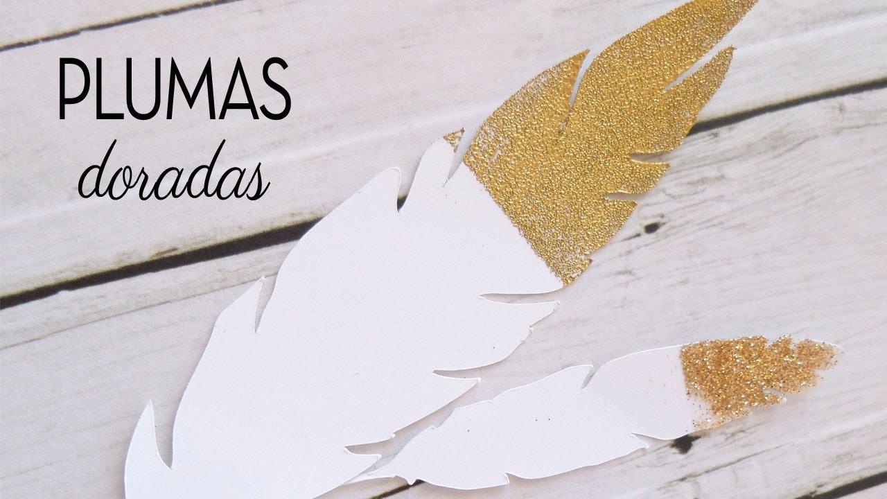 Cómo hacer detalles dorados | Plumas doradas | Adornos fáciles scrapbooking DIY |  Scrap Tip