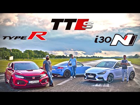 Honda Civic Type R vs Hyundai i30 N Performance vs Audi TTS | 0-100 km/h | 60-200 km/h | Hot lap