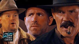 Before 'Deadpool 2' Ryan Reynolds & Josh Brolin Did a Western -- Corden's Sketch of the Week - Video Youtube