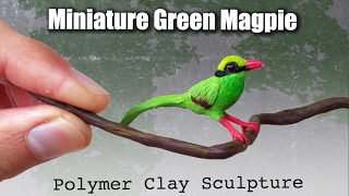 Miniature Bird Polymer Clay Bird // Javan Green Magpie Speed Sculpting