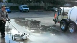 Extremely fast concrete cleaning 30 HP 3,500 PSI @ 9 GPM hot-water pressure cleaning systems.