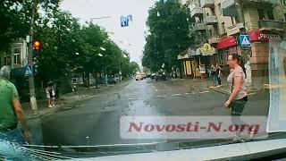 Появилось видео наезда авто на велосипедиста в центре Николаева
