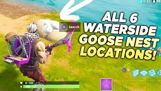 "ALL 6 WATERSIDE GOOSE NEST LOCATIONS! ""Search Waterside Goose Nests"" Fortnite 14 Days Challenge!"