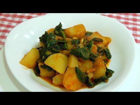 Receta fácil y económica de patatas con espinacas