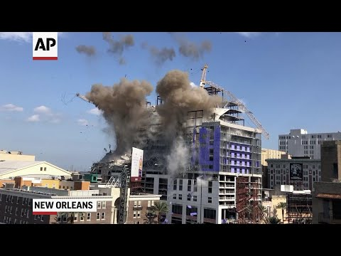 New Orleans demolishes cranes at collapsed hotel
