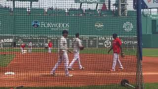 Blake Swihart of Boston Red Sox works out at first base May 26, 2018