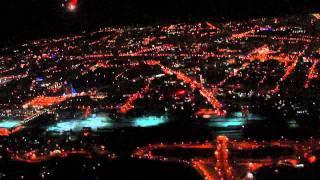 Новосибирск ночью с самолета на небольшой высоте.