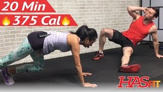 20 Minute HIIT Workout for Fat Loss - Home Cardio, Strength Training, Cardio Kickboxing, Abs Workout by HASfit