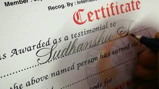 Writing names on Certificate. #atomarts #ak_atomarts #calligraddicted