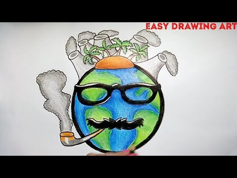 how to draw air pollution poster drawing || save earth save environment drawing
