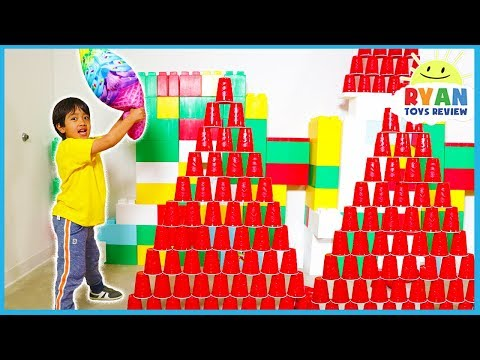 Falling Cup Tower Challenge with Ryan ToysReview
