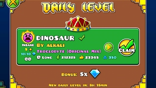 Geometry Dash [2.1] | Daily Level 12/02/17 | Dinosaur by Alkali (2 coins)