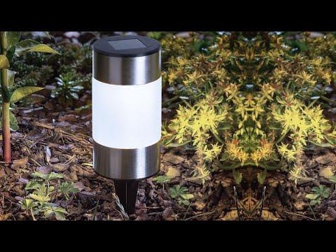 Lampa Solara LED, Model Stalpisor din Metal Cilindric