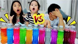 แข่งทำสไลม์ 3 สี ใยบัว vs พ่อแบท ของใครจะสวยกว่ากัน 3 COLORS OF GLUE SLIME CHALLENGE!!