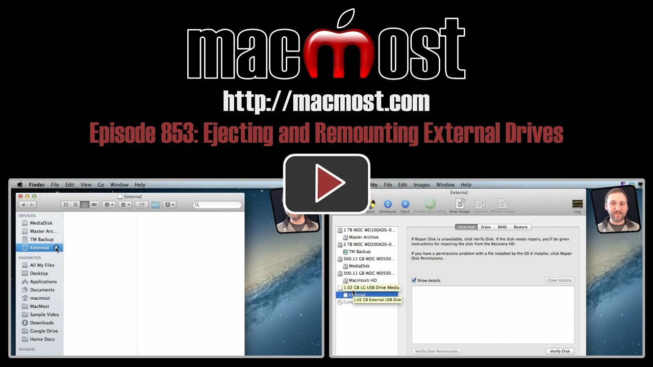 MacMost Now 853: Ejecting and Remounting External Drives