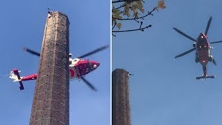 video: Man left dangling on 290ft Dixon's Chimney dies