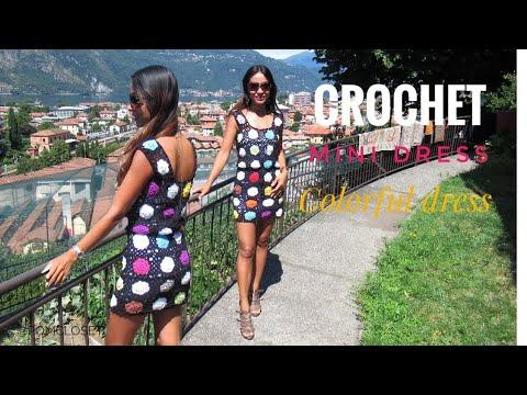 , title : 'Crochet colorful flowers motifs dress | #summer dress #pomcloset