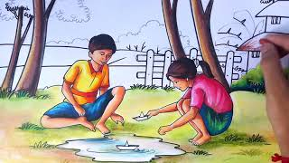 HOW TO DRAW SIMPLE #SCENERY WITH HUMAN FIGURES, STEP BY STEP FOR BEGINNERS/#PLAY WITH PAPER BOAT