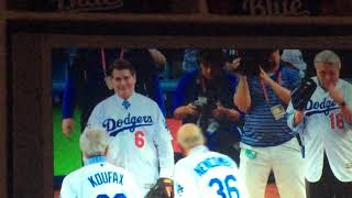 Don Newcombe And Sandy Koufax Throw First Pitch Of The World Series!