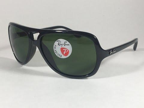 b325c31e07 New Authentic Ray-Ban Polarized Turbo Aviator Sunglasses Black Green Men  RB4162 601 2P 59mm - YouTube
