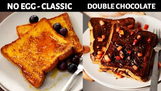 Eggless French Toast (10 Min) Recipes - Classic Vanilla & Chocolate - CookingShooking Cafe Style