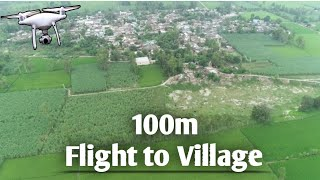 Flying the DJI Phantom 4 pro at 100m Height || Journey to village /Beautiful view of village & farm