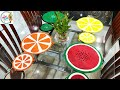 Dining Table Mats and Coasters/ Fruit Painted Table Mats/ Rope Craft-2