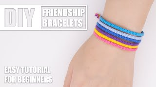 DIY Thin Braided Beach Rainbow Friendship Bracelets | Easy Tutorial For Beginners