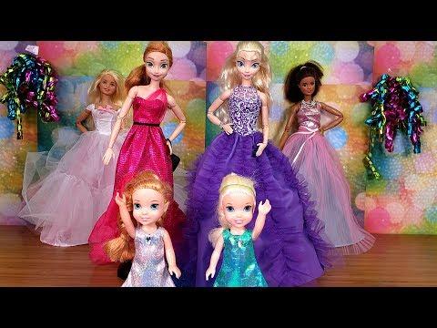Fashion Show ! Elsa and Anna toddlers - Barbie - fashionista - dress up (видео)
