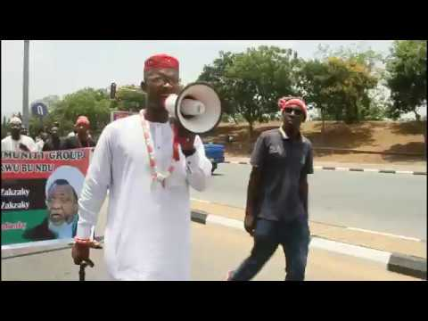 IGBO MEN IN FREE ZAKZAKY PROTEST AT NATIONAL ASSEMBLY ABUJA.