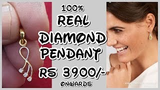 Daily Wear Diamond Pendant Set | Simple Light Weight Diamond Pendant Sets | Diamond Pendant Designs