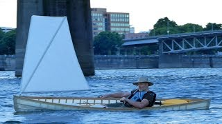 Building a skin-on-frame Canoe, Part 9: Sail testing!