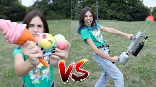 SHOOTING SQUISHY TOYS OUT OF AN AIR CANON!!