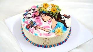 Beautiful Painting Girl Cake -  Bánh Sinh Nhật Vẽ Hình Cô Gái đẹp