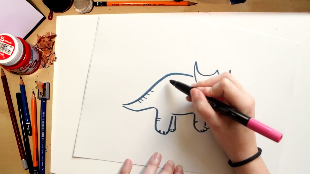 Como dibujar un Triceratops - dibujos de dinosaurios para niños